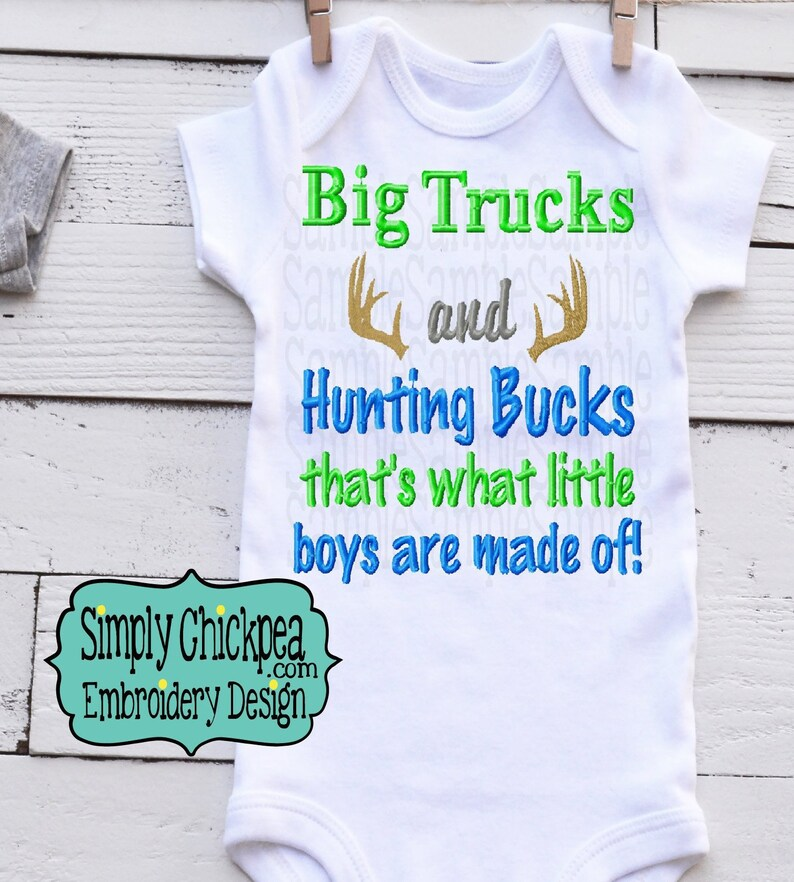 e48860f8e0be9 Big Trucks and Hunting Bucks That's What Little Boys are | Etsy