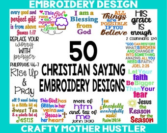 50 Christian Sayings Embroidery Designs bundles, Includes Appliques, Various Hoop Sizes, Embroidery Design Sayings, Crafty Mother Hustler