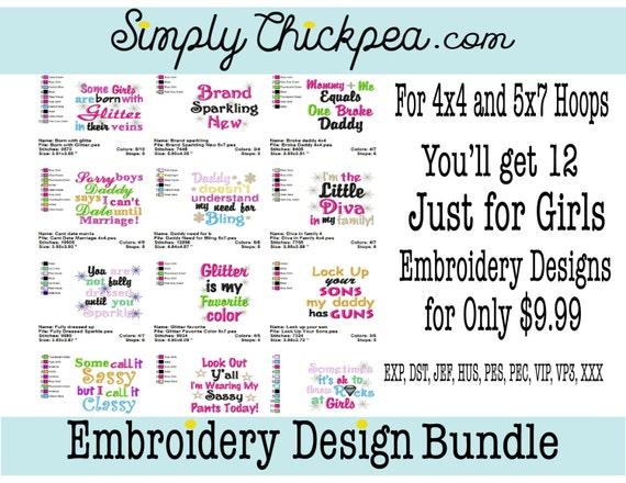 Diseños De Bordados Sólo Para Chicas De Refranes Y Frases Colección Del Paquete Del Bordado Tamaño Perfecto Para Camisetas Aros 4 X 4 Y 5 X 7
