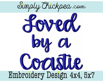 Embroidery Design - Loved by a Coastie - Coast Guard - Military - For 4x4 and 5x7 Hoops