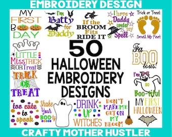 50 Halloween Embroidery Designs Bundle, Includes Applique, Various Hoop Sizes, Halloween Sayings, Halloween Baby Designs
