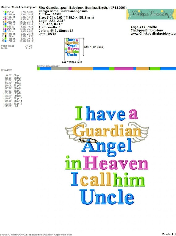 Embroidery Design: I Have a Guardian Angel in Heaven I Call Him Uncle -  Memory - Memorial - Wings - For 4x4 and 5x7 Hoops