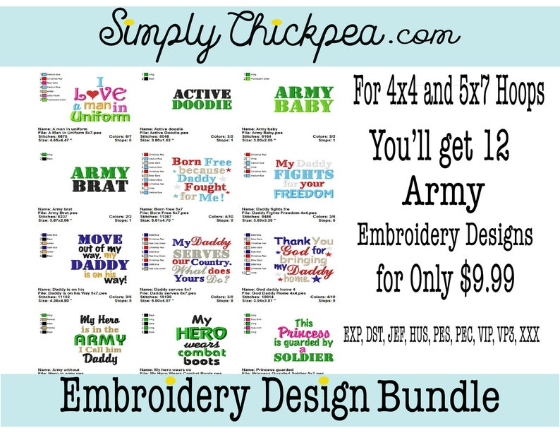 Embroidery Designs - Army I Bundle - Sayings - Military - Freedom - For 4x4  and 5x7 Hoops
