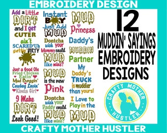 Muddin' Country Saying Embroidery Design Bundle, Mudding Sayings, Dirt Embroidery Design Collection, For 4x4 and 5x7 Hoops