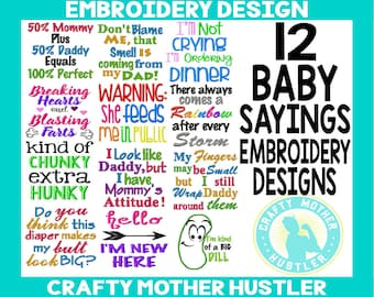Baby Sayings Embroidery Design Bundle, Embroidery Collections, Instant Download, Design Set, Includes Appliques, For 4x4 and 5x7 hoops