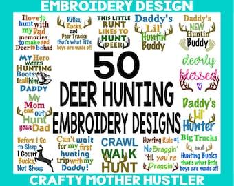 50 Deer Hunting Embroidery Designs, Various Hoop Sizes, Deer Sayings, Embroidery Sale, Antlers Design, Hunting Designs