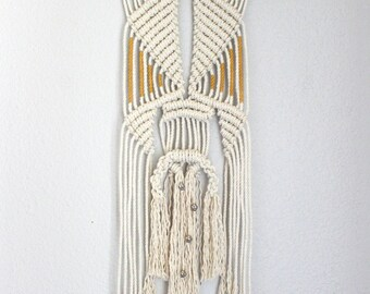 """Macrame Wall Hanging """"Time Travel no.8"""" by HIMO ART, One of a kind Handcrafted Macrame/Rope art"""