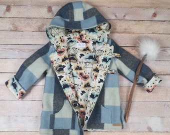 Boys Wool winter jacket/ Size 4/ Vintage wool Blanket Jacket