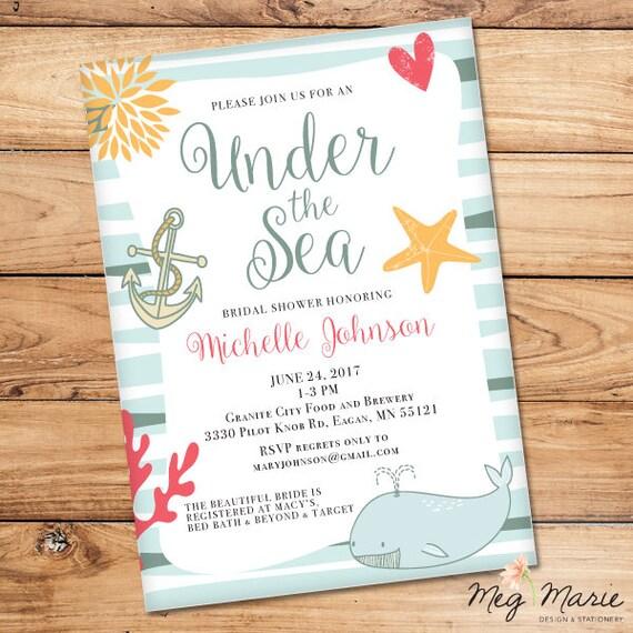 Under the sea bridal shower invitation beach bridal shower filmwisefo