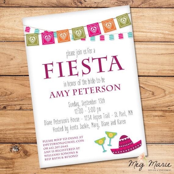 Mexican Fiesta Bridal Shower Invitation Spanish Themed