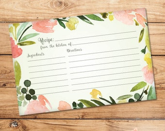 "Floral Light Green Recipe Card - (Matches Floral Wreath Bridal Shower Invitation) - 6""x4"" Digital Download"