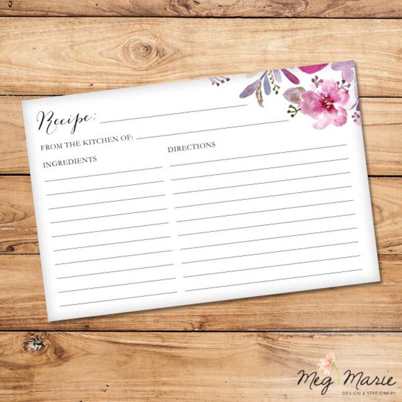 Pink /& Purple Flowers Recipe Card INSTANT DOWNLOAD 6x4 Matches PinkPurple Flowers Bridal Shower Invitation