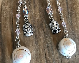 Rose Quartz, Shell, Crystal & Buddah Charm Earrings