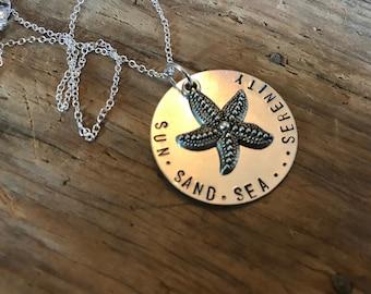 Sun,Sand,Sea....Serenity Necklace with Starfish Charm