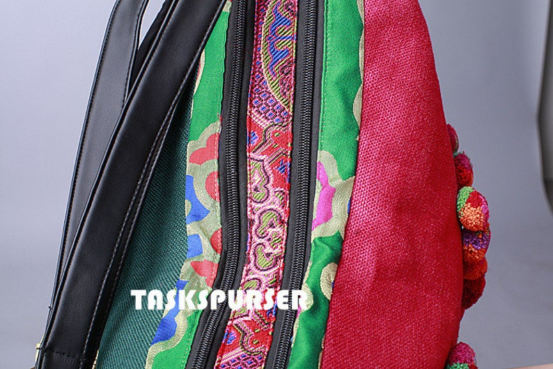 Backpack Book Bag Handmade Hmong Vintage Fabric Ethnic BackpackEmbroidery BackpackDouble-sided embroidery Backpack