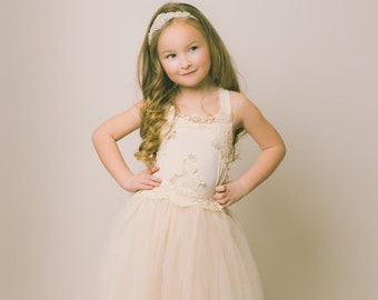 The Evangeline - Ivory, chiffon, lace, tulle, Flower Girl Dress, girls toddler dress, ages 1T, 2T,3T,4T, 5T, 6, 7, 8, 9/10, 11/12