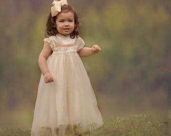 f004d5a41b3 Alexandra - flower girl dress ivory flower girl dress girls lace dress lace  dress toddler lace dress boho flower girl flower girl dress lace