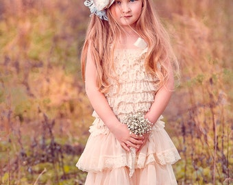 cb3238d029 Hannah lace rustic flower girl dress champagne lace dresses flower girl  dress country chic flower girl dress rustic wedding dress lace dress