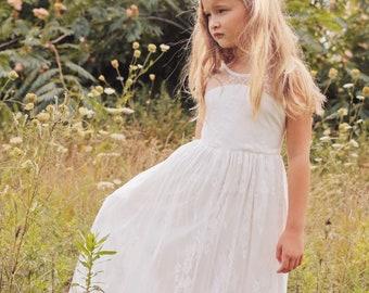 9ddd7bc6cf Ava - Lace Flower Girl Dress ivory flower girl dress girls lace dress lace  dress toddler lace dress boho flower girl dress flower girl dress