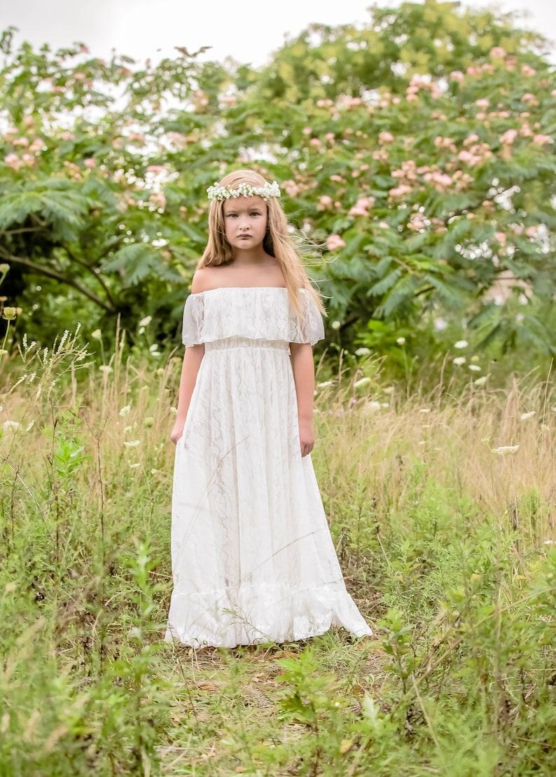 c5652d9ad9e Vivian white lace Flower Girl Dress bapstism communion