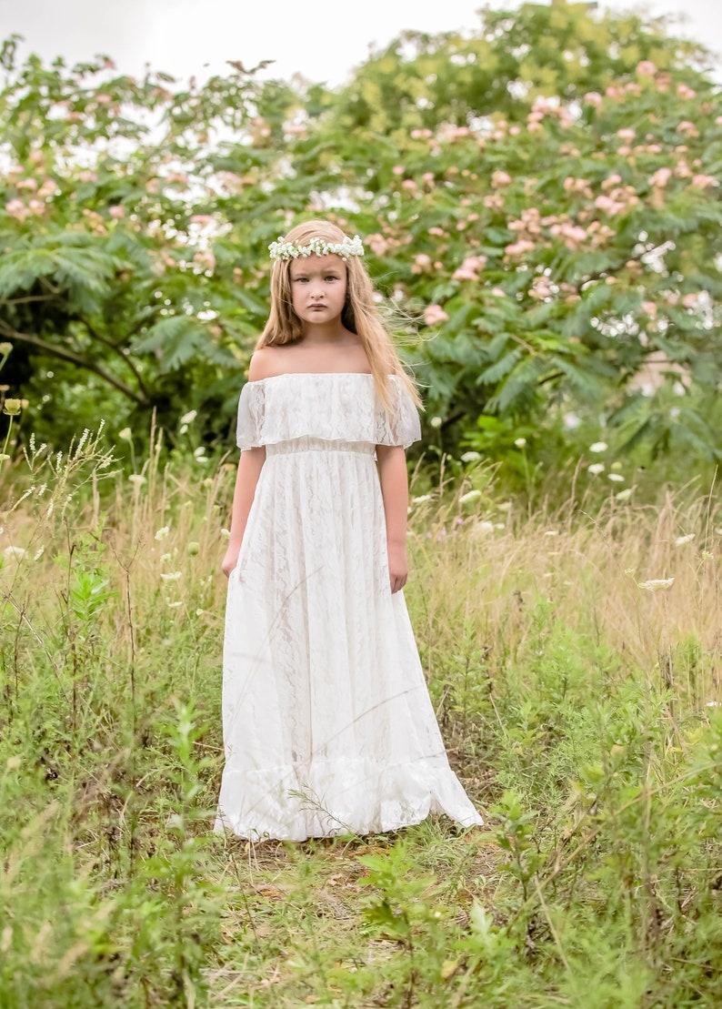 8c2291553f Vivian white lace Flower Girl Dress bapstism communion