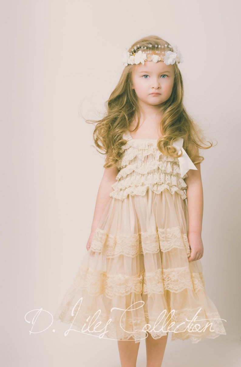 0a46733d100 Eloise lace rustic flower girl dress champagne lace dresses