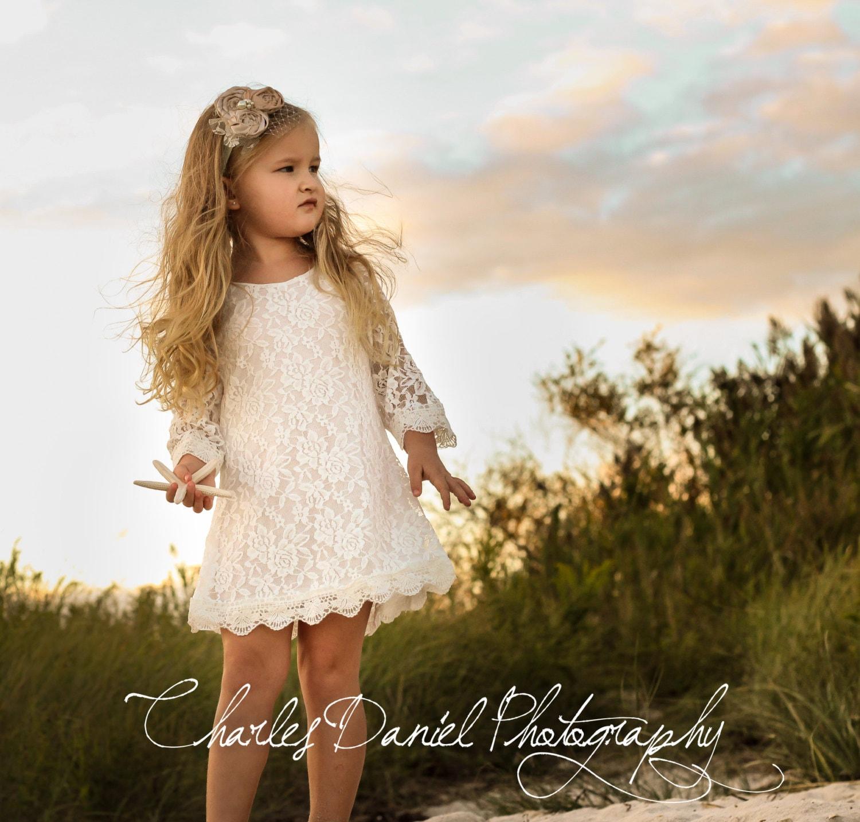 Chloe Lace Flower Girl Dress-Christening Baptism Dress-Rustic Flower Girl-Long Sleeve Girl Dress-Bridesmaid-Country Flower Girl-Birthday