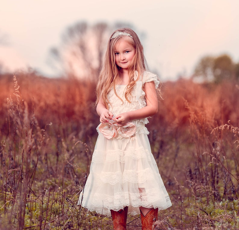 1c8821b20e The Eloise Ivory Lace Chiffon Flower Girl Dress made for