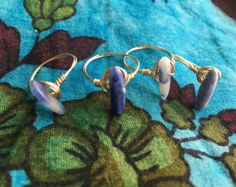 Sodalite Wire Wrapped Copper Ring
