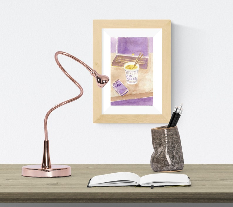 Beige and Purple Wall Art Instant Ramen Noodles Illustration Yellow Cup Noodles Original Watercolor Artwork Small Painting