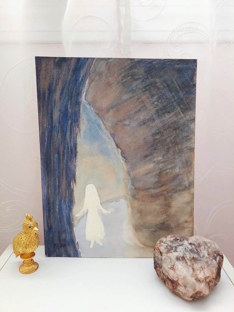 Original Art: Coming to a Realization Blue Beige Spiritual Symbolic Artwork Girl in Cave Small Surrealist Watercolor Painting White