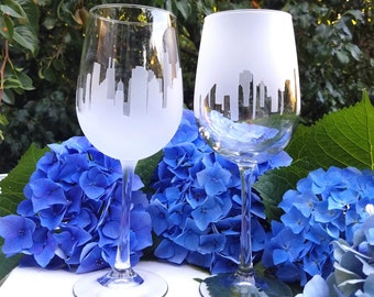 2 Sets of City Skyline Wine Glasses, (Set of 4) Choose 2 Different Cities!