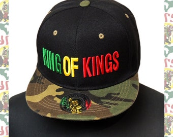 dca4a9b17 KING OF KINGS [drs] 3D Embroidery Snapback Cap roots reggae rastafari  africa soundsystem