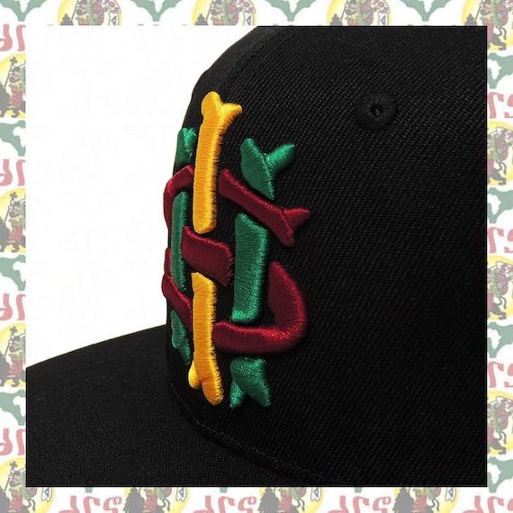 Embroidered Snapback Cap roots reggae rastafari africa soundsystem IHS  Haile Selassie I drs