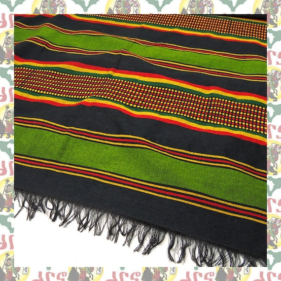 Ethiopian Traditional Woven Cotton Scarf Shawl Head wrap (Scarf-a81) Reggae  Rastafari Roots Dub Africa Lion of Judah