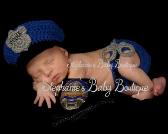 Photo prop Baby police outfit Military uniform crochet baby police uniform donut Policeman hat and diaper cover with handcuffs