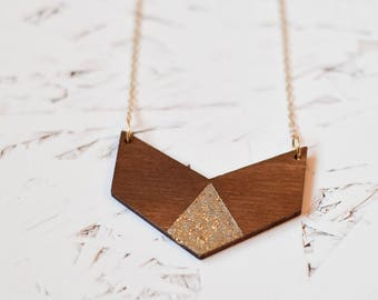 Wooden chevron geometric necklace SEDONA