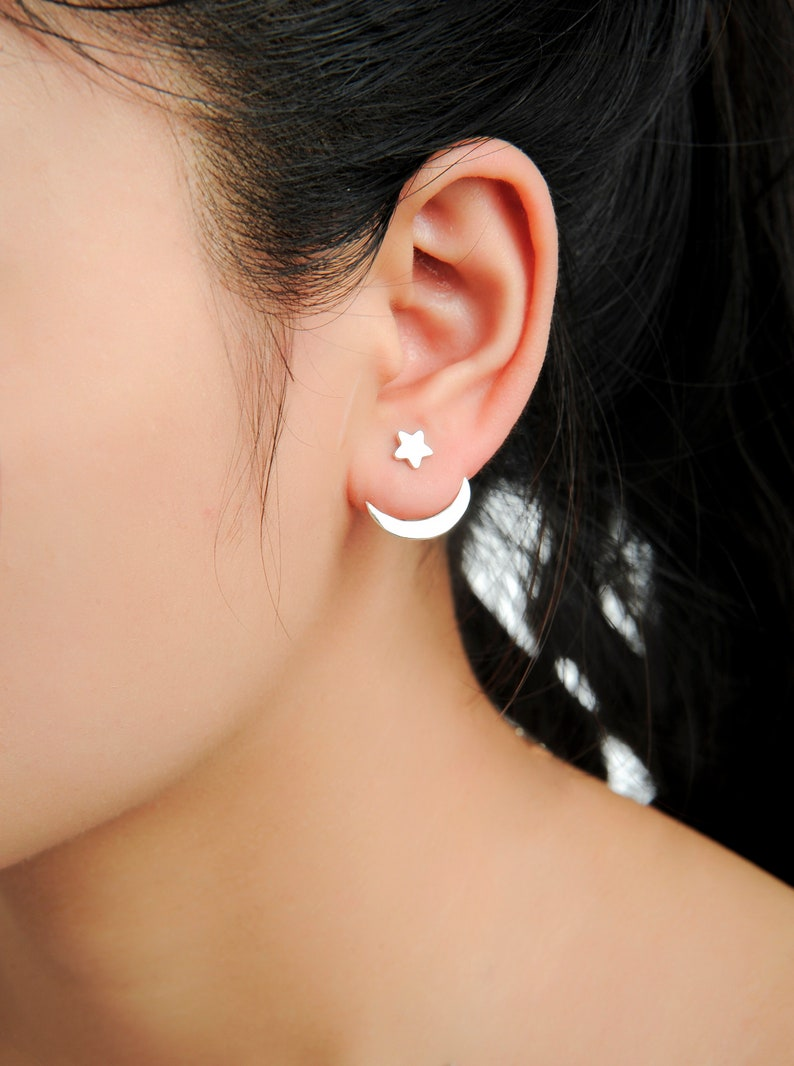 4daeb8301 Moon and Star Phase Ear Jacket Earrings Crescent Moon | Etsy
