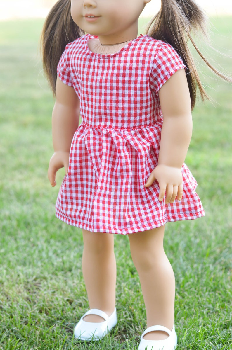 Red gingham babydoll dress image 0