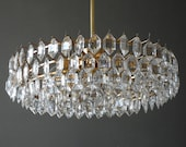 Beautiful original 60s Bakalowits crystal chandelier with brass frame