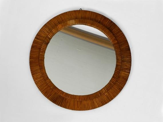 Elegant Round Mid Century Modern Wall Mirror With Wickerwork Etsy