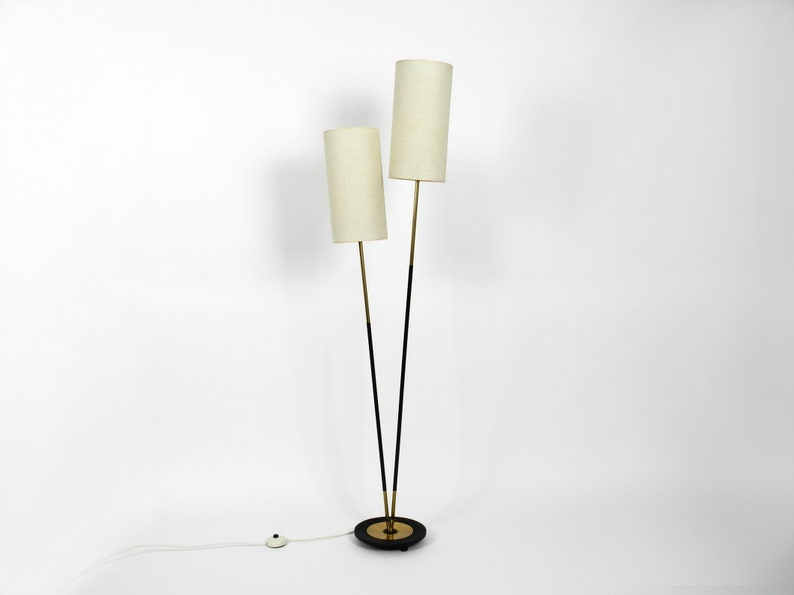 the latest d8e55 6fbca Gorgeous almost mint Mid Century Modern brass floor lamp with two large  fabric shades