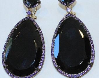 Black Onyx Earrings With Purple Cubic Zirconium