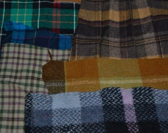 Wool Tartan pieces for patch work. There is about 2 1/2 sq foot.
