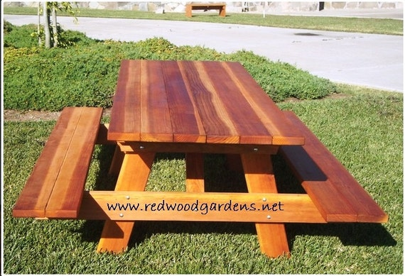 Admirable 5Ft Picnic Table With Benches Heavy Duty Redwood Bralicious Painted Fabric Chair Ideas Braliciousco