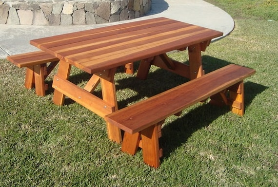 Astonishing 5Ft Picnic Table With Benches Heavy Duty Redwood Bralicious Painted Fabric Chair Ideas Braliciousco