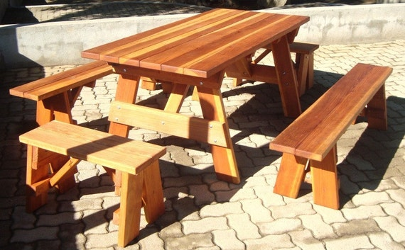 Enjoyable 5Ft Picnic Table With Benches Heavy Duty Redwood Bralicious Painted Fabric Chair Ideas Braliciousco