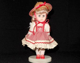 """Vogue Doll Ginny 1984 Dakin-Shopping with Mommy Doll-8""""-Vintage Toys-Open Close Eyes-Original Clothes-Straw Hat-Orphaned Treasure-M111417P"""