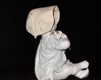 Vintage Handmade Baby Bonnet-Ivory Cotton-Old Fashioned Infant Style-Child Clothing Accessory-Sun Bonnet Hat-Orphaned Treasure-Q012418D
