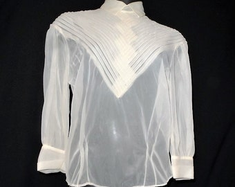 7b81a79d3aae04 Vintage Sheer Blouse by Cathy Lee Blouses-3/4 Sleeve-Gauze-Retro  Fashion-1940's Style-Pleated-Button Back Top-Orphaned Treasure-081716A